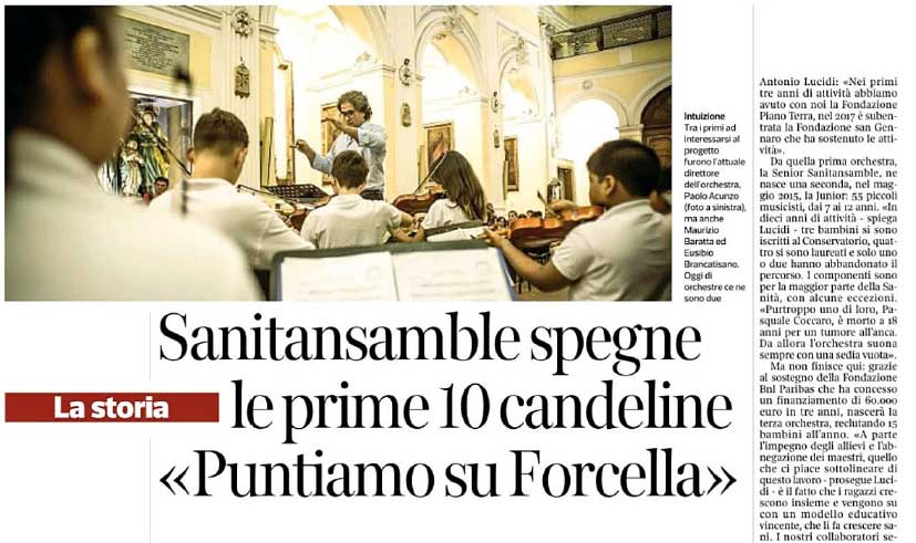Sul Corriere del Mezzogiorno: Sanitansamble spegne le prime 10 candeline