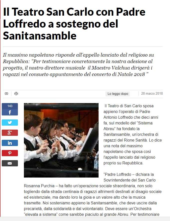 Il Teatro San Carlo con Padre Loffredo a sostegno del Sanitansamble